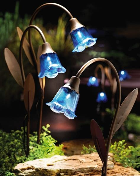 blue bell stake solar lawn lights