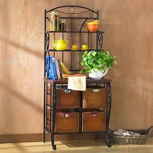 Amazon com - SEI Iron/Wicker Baker's Rack - Free Standing