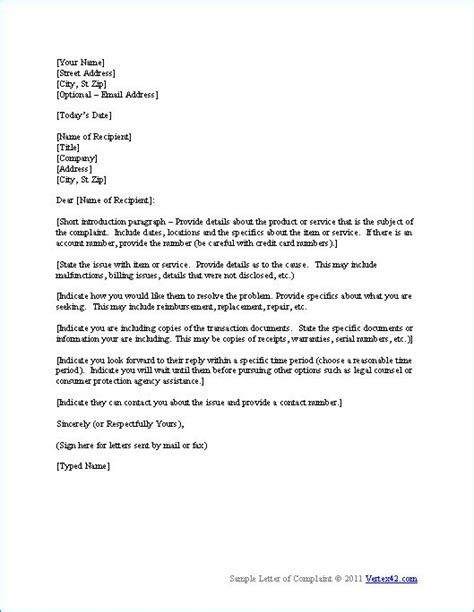complaint letter sample complaint letters