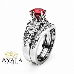 natural ruby engagement ring set wedding ruby ring with With ruby wedding band rings