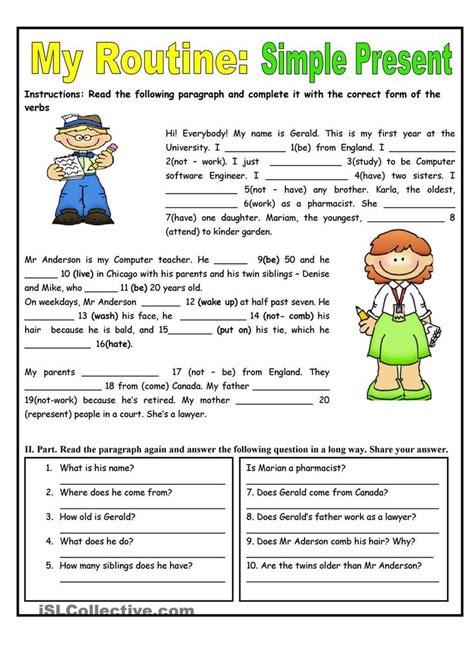 routine simple present tense worksheet