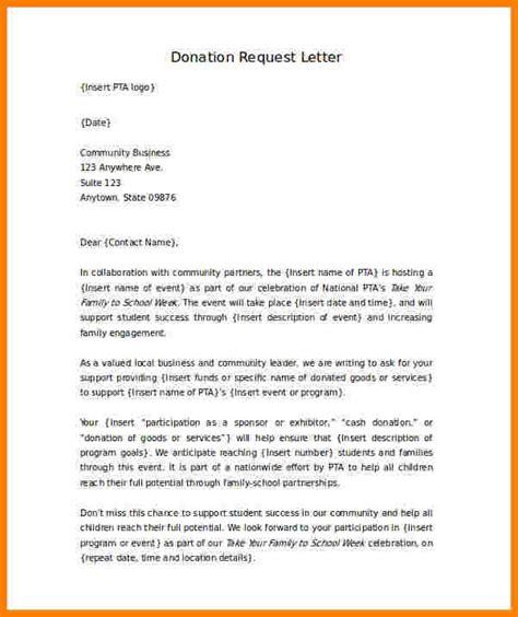 donation request letter  school event sales slip
