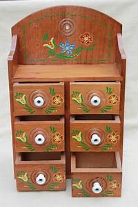 vintage folk art hand painted wood spice box wall hanging With kitchen cabinets lowes with folk art wall hangings