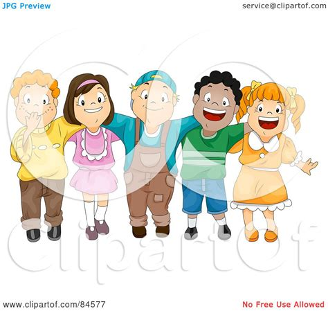 Royalty-Free (RF) Clipart Illustration of a Group Of Five ...