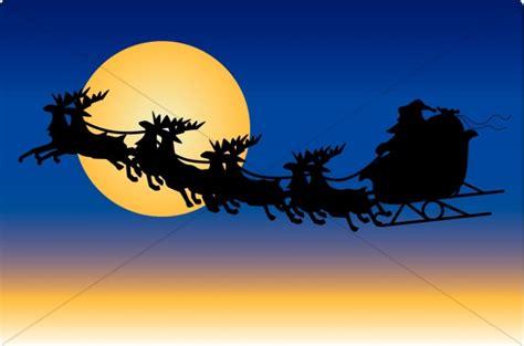 santas reindeer   moon religious christmas clipart