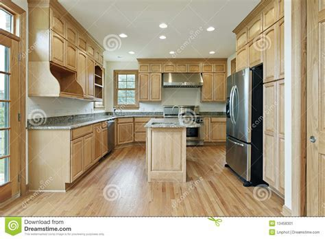 Kitchen With Oak Wood Cabinetry Stock Image   Image: 13458301