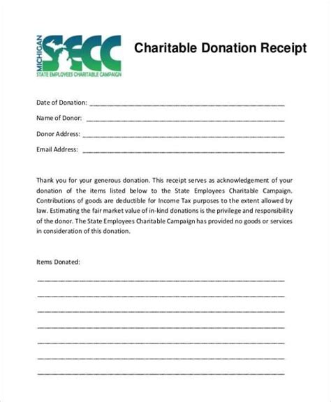 charitable donation receipt templates  sample