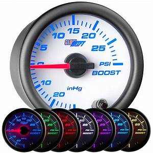 Glowshift 52mm White 7 Color Turbo Mechanical Boost  Vacuum