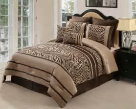 8pc zambia chocolate brown zebra print comforter set queen ebay