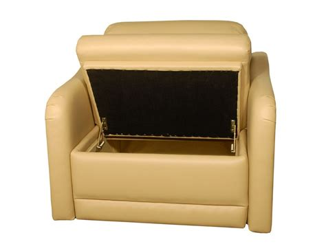 light brown leather chair with storage for living room
