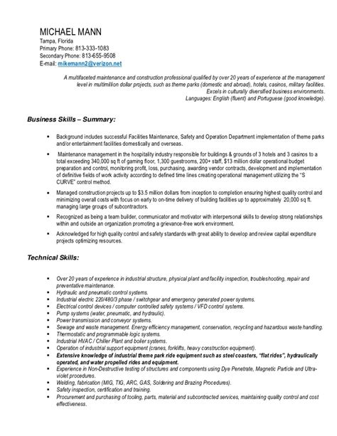 Theme Resume by Theme Park Entertainment Industry Facility And Ride Maintenance Saf