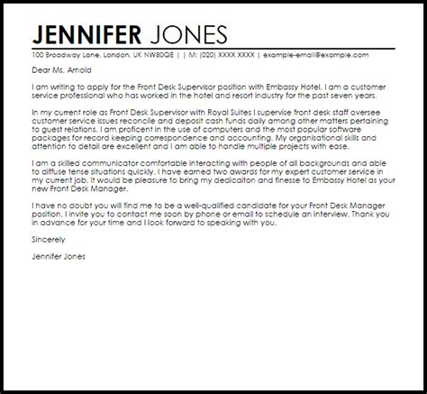 Cover Letter For Front Desk Manager by Front Desk Supervisor Cover Letter Sle Cover Letter