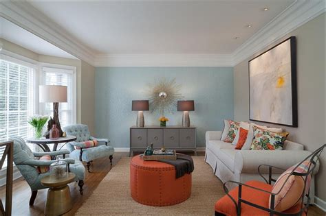 living room accent wall creating a warm and calm situation at home with blue