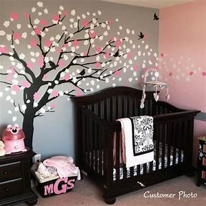baby girl nursery idea love the grey and pink for With cute little girl wall decals ideas