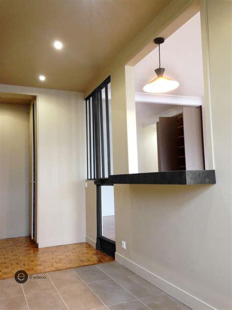 cuisine avec ouverture passe plat réalisation passe plat cuisine moderne couloir