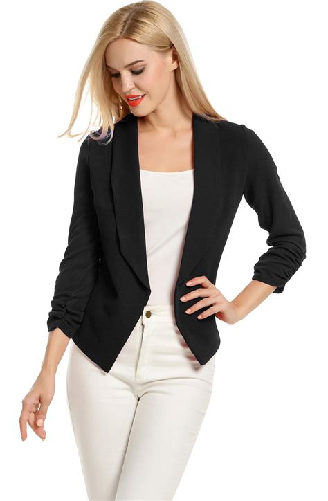 Pogt Women 34 Sleeve Blazer Open Front Cardigan Jacket