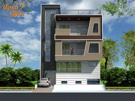 4 Bedrooms Triplex House Design In