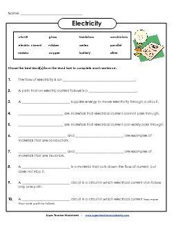 electricity worksheets science electricity science