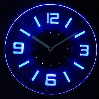 Clock Led Wall Neon Night Illuminated Round