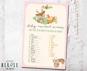 Woodland Animal Baby Shower Games