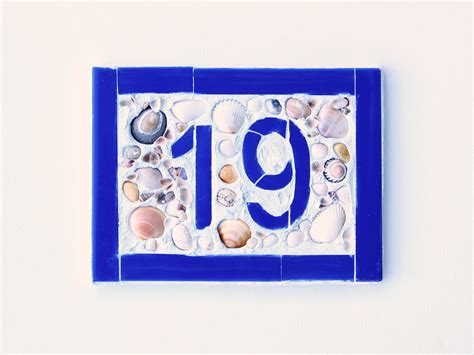 house number plaque blue ceramic tile mosaic by
