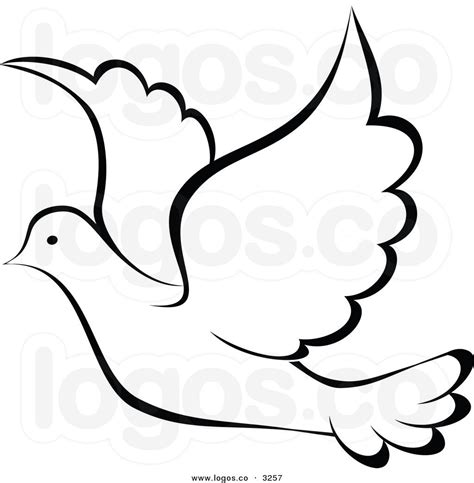 Dove Clipart Royalty Free Vector Of A Black And White Flying Dove Logo