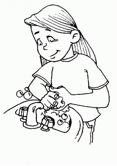 Washing Coloring Hand Pages Sister Hands Drawing