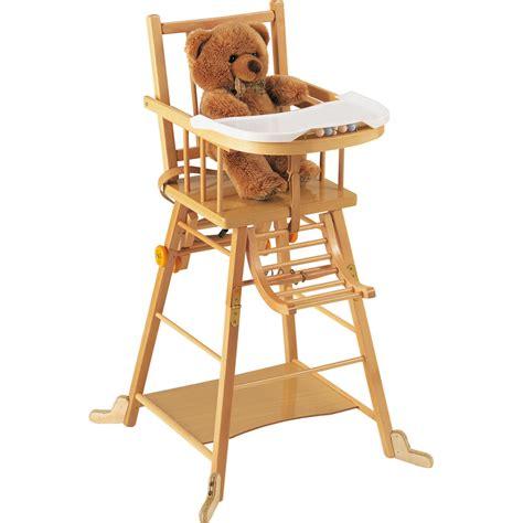 siege repas chaise haute bébé transformable vernis naturel de combelle