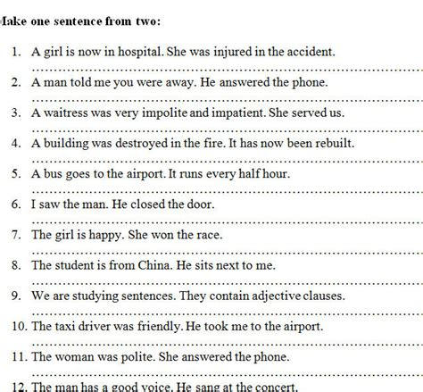 worksheets defining relative clause relative clauses worksheet