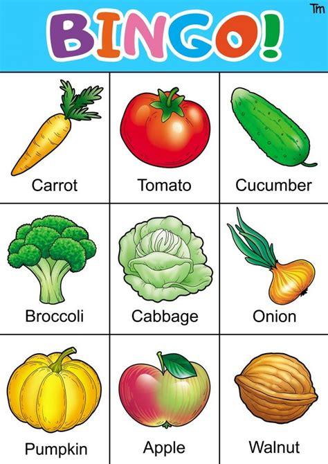 fruit  veggie bingo game   bingo cards