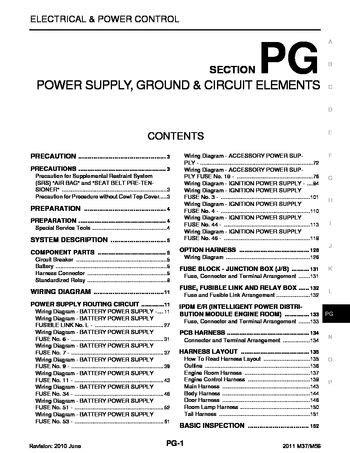 Infiniti Power Supply Ground Circuit