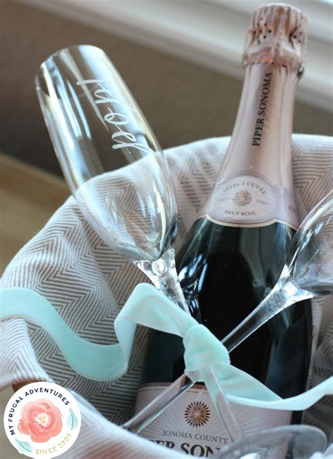 diy etched wine  champagne glasses perfect gift idea