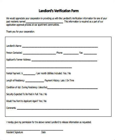free rental history verification form landlord verification form sles 9 free documents in