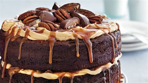 chocolate turtle layer cake recipe bettycrockercom