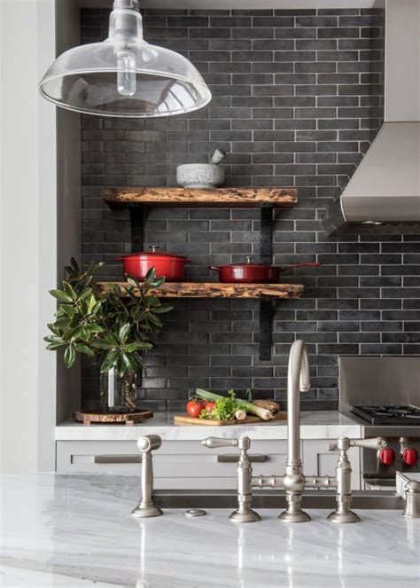 transitional kitchen  gray subway tile backsplash hgtv