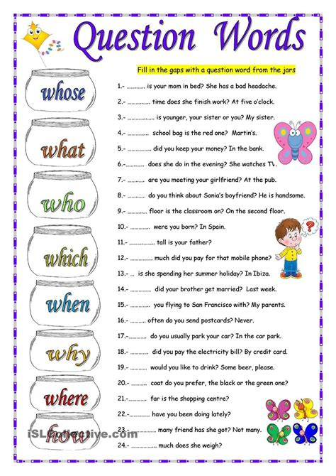 Question Words Worksheets For Grade 2  Worksheet Example