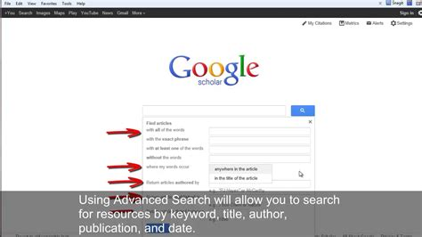 how to use google scholar for academic research youtube