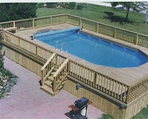 Rectangle Above Ground Pool With Deck Square Above Ground