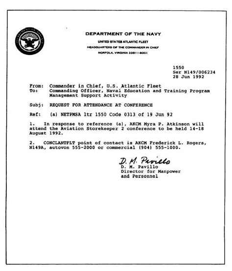 standard naval letter