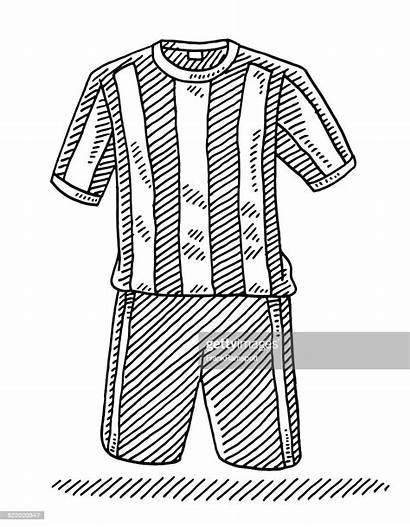 Football Shirt Drawing Shorts Clipart Vector Sports