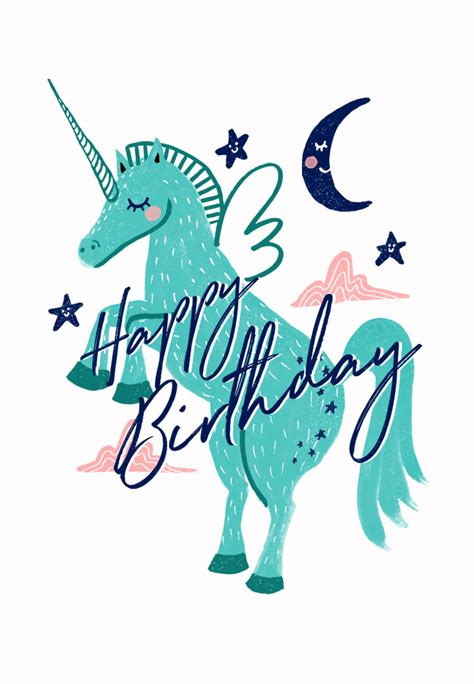 winged unicorn birthday card  island