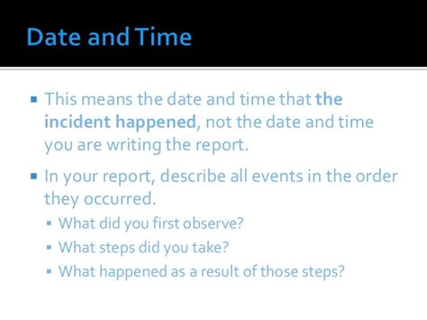 Incident Report Writing