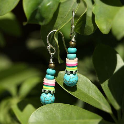 aobei pearl handmade earring  turquoise clay