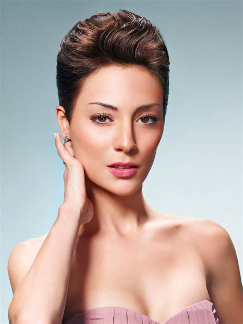 short hairstyle with gel styling and all hair out of the face
