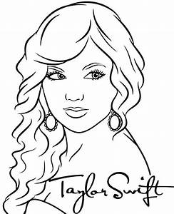 Taylor Swift Singer To Color Printable Coloring Page Pop Stars