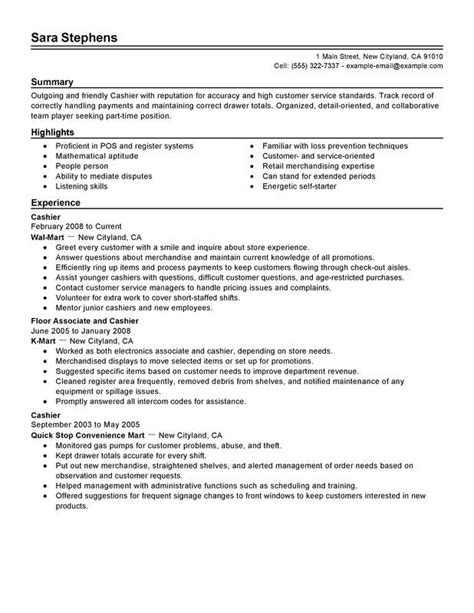 Cashier Resume Template by Resume Exles Cashier Resume Exles Resume