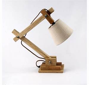 Lampe Bureau Bois : lampe de chevet ou bureau en bois naturel luminaire lecomptoirdesauthentics ~ Teatrodelosmanantiales.com Idées de Décoration