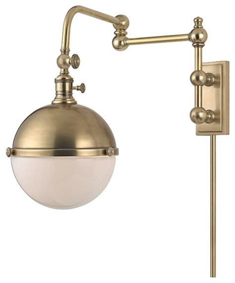 hudson valley lighting stanley aged brass wall sconce w 1 light 75w 1672 agb traditional