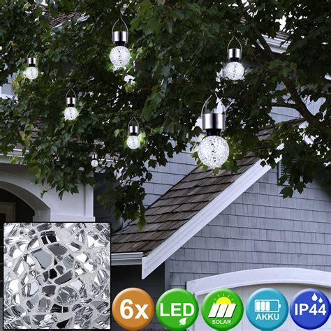 deko spiegel silber 6er set solar h 228 nge leuchten rund garten kugel len