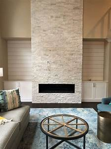 Two, Story, White, Stacked, Stone, Fireplace
